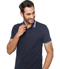 camisa polo forum reta frisos azul-marinho - azul marinho - masculino - algodã£o - dafiti
