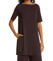 eileen fisher boat neck jersey tunic, size xx-small in cassis at nordstrom