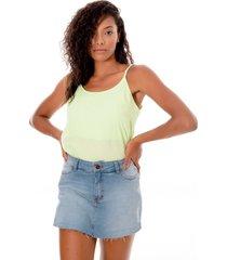 regata sisal jeans candy color verde - verde - feminino - liocel - dafiti