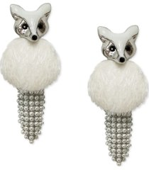 inc gold-tone bead & faux fur fox drop earrings, created for macy's