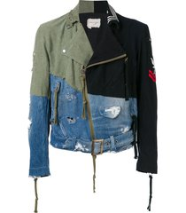 greg lauren contrast panel destroyed denim jacket - green