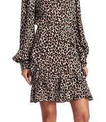 michael kors women's ruffle silk skirt - khaki multi - size 6