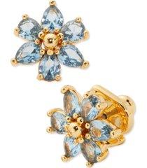 kate spade new york gold-tone cubic zirconia flower stud earrings