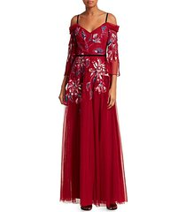 cold shoulder embroidered tulle gown