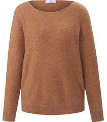 trui met lange mouwen en boothals van peter hahn bruin