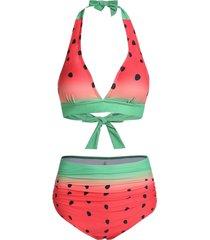 watermelon print halter padded bikini swimwear