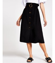 river island womens black belted structured midi skirt
