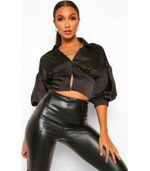 geweven korset stijl blouse met pofmouwen, black