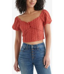lucky brand sweetheart eyelet crop top