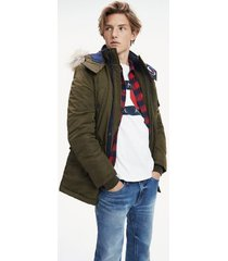 tommy hilfiger men's fur hood insulated parka forest night - xxl