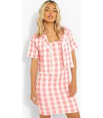 korte gingham blazer en mini jurkje, pink