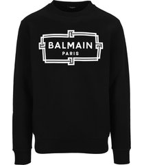 balmain cotton sweatshirt with flocked white balmain logo