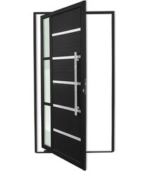 porta pivotante direita com lambri e puxador em alumínio miraggio 210x120cm preta