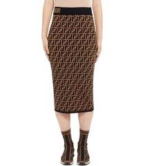 women's fendi logo jacquard midi sweater skirt