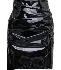 msgm black draped patent leather skirt