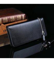 billetera, con cremallera informal de moda de la-negro