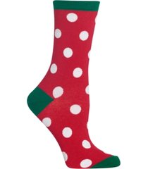hot sox large polka dot crew socks