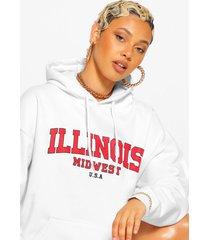 extreem oversized illinois hoodie met tekst, wit