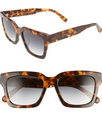 women's diff austen 55mm square sunglasses - dark tortoise/ blue