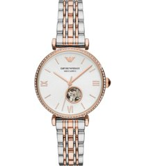 emporio armani women's automatic two-tone stainless steel bracelet watch 34mm