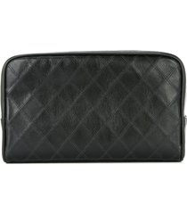 chanel pre-owned cosmos quilted cc cosmetic bag - black
