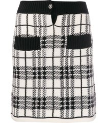 barrie plaid cashmere skirt - white