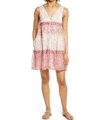 women's btfl-life ditsy floral babydoll dress, size small - pink