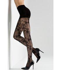 natori scarlet lace sheer tights, women's, cotton, size l