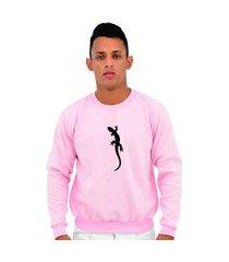 moletom casual gola careca masculino camaleão conforto rosa claro