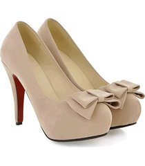 pp337 trendy high-heeled pump w bowtie top, nubuck leather.us size 4-8.5,apricot