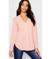 blouse met v-hals, blush