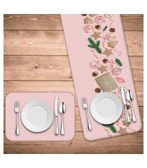 jogo americano com caminho de mesa natal rosa kit com 4 pçs + 1 trilho