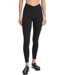 dkny sport crossover high-waist 7/8 length leggings