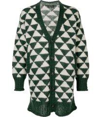 undercover two-tone chevron mohair cardigan - green