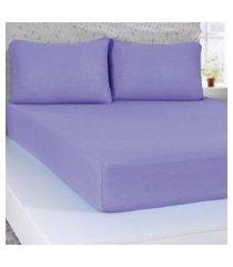 lençol solteiro de malha 100% algodáo  com elástico lilas - panosul