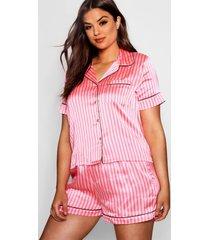 plus gestreepte satijnen pyjama set, roze