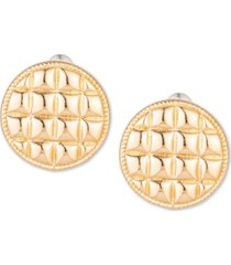 charter club gold-tone check circle stud earrings, created for macy's