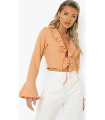 gekreukelde blouse met ruches, orange