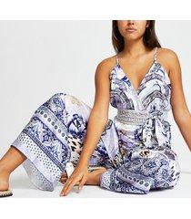 river island womens blue floral plunge beach jumpsuit