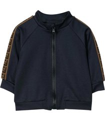 fendi blue sweatshirt with zip and side bands with logo