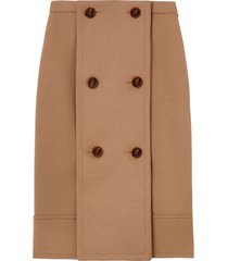 burberry button panel detail wool cashmere a-line skirt - brown