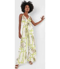 macacã£o forum pantalona estampado off-white/verde - off white - feminino - viscose - dafiti