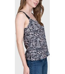 blusa ash top fantasía bicolor negro - calce regular