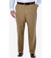 haggar men's big & tall premium no iron khaki classic fit flat front hidden expandable waistband pants