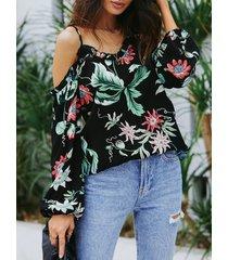 yoins blusa negra con hombros descubiertos y estampado floral al azar