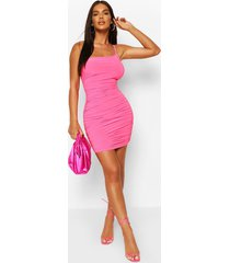 neon one shoulder ruched mini dress, pink