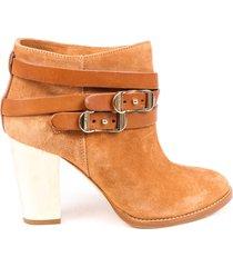 jimmy choo beige suede strappy block heel booties beige sz: 6.5