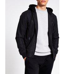 river island mens black hooded bomber jacket
