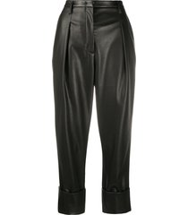 dorothee schumacher faux leather cropped trousers - black