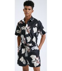 hombres holiday tropical print cordón cintura manga corta overoles mono
